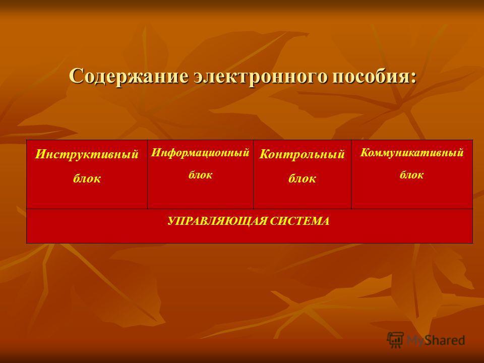 Содержание электронного пособия: Инструктивный блок Информационный блок Контрольный блок Коммуникативный блок УПРАВЛЯЮЩАЯ СИСТЕМА
