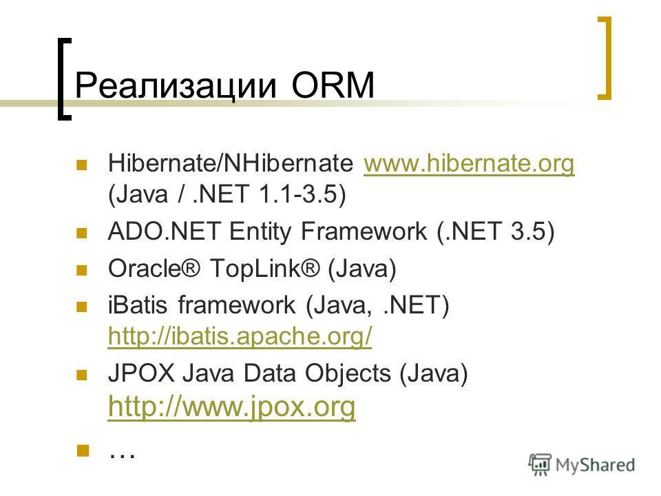 Реализации ORM Hibernate/NHibernate www.hibernate.org (Java /.NET 1.1-3.5)www.hibernate.org ADO.NET Entity Framework (.NET 3.5) Oracle® TopLink® (Java) iBatis framework (Java,.NET) http://ibatis.apache.org/ http://ibatis.apache.org/ JPOX Java Data Ob
