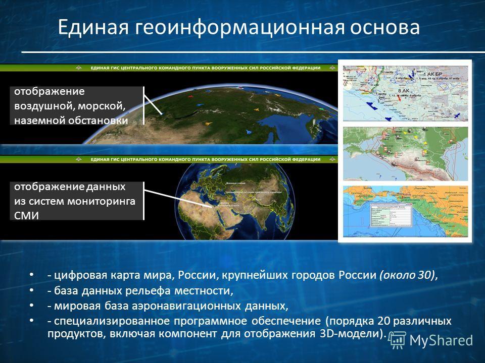 Единая геоинформационная основа - цифровая карта мира, России, крупнейших городов России (около 30), - база данных рельефа местности, - мировая база аэронавигационных данных, - специализированное программное обеспечение (порядка 20 различных продукто