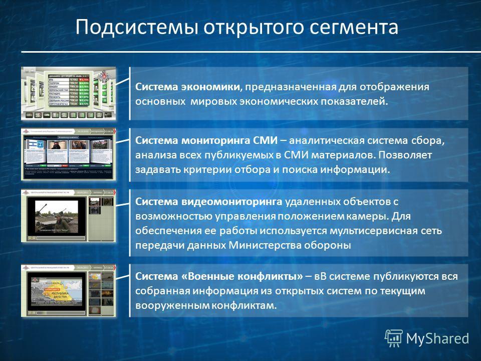 Подсистемы открытого сегмента Система мониторинга СМИ – аналитическая система сбора, анализа всех публикуемых в СМИ материалов. Позволяет задавать критерии отбора и поиска информации. Система видеомониторинга удаленных объектов с возможностью управле