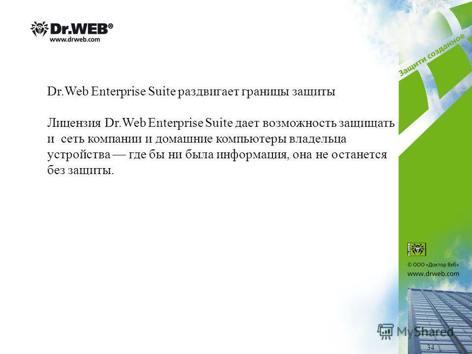 Dr.Web Enterprise Suite раздвигает границы защиты Лицензия Dr.Web Enterprise Suite дает возможность защищать и сеть компании и домашние компьютеры владельца устройства где бы ни была информация, она не останется без защиты. 34