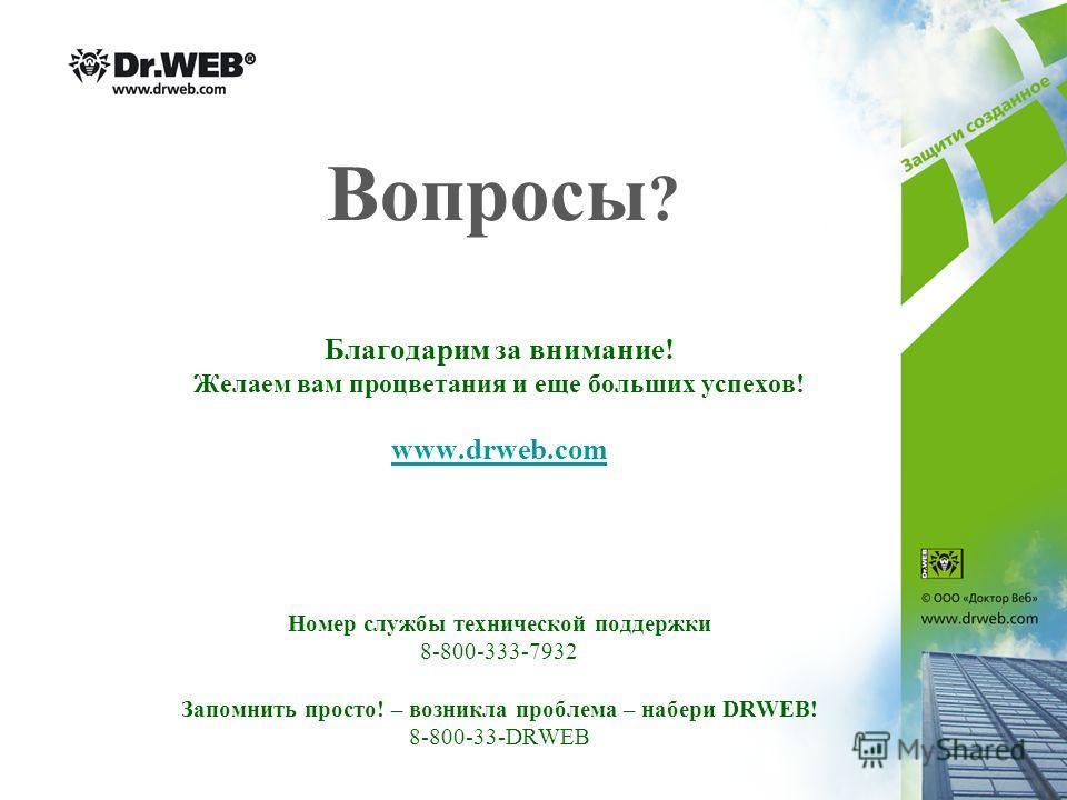 Вопросы ? Благодарим за внимание! Желаем вам процветания и еще больших успехов! www.drweb.com Номер службы технической поддержки 8-800-333-7932 Запомнить просто! – возникла проблема – набери DRWEB! 8-800-33-DRWEB