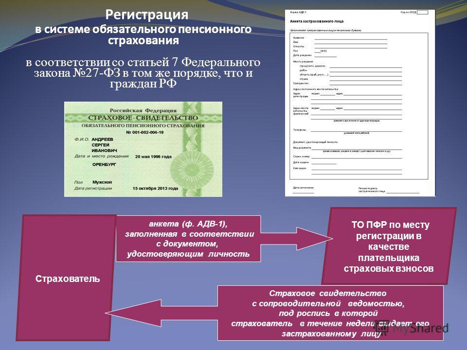 Регистрация в системе обязательного пенсионного страхования в соответствии со статьей 7 Федерального закона 27-ФЗ в том же порядке, что и граждан РФ ТО ПФР по месту регистрации в качестве плательщика страховых взносов анкета (ф. АДВ-1), заполненная в