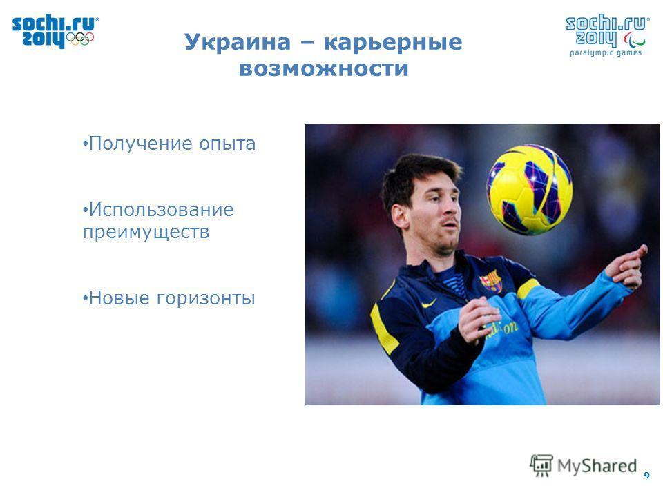 99 Украина – карьерные возможности Получение опыта Использование преимуществ Новые горизонты