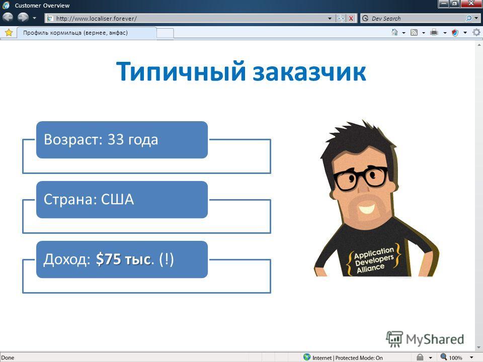 Возраст: 33 годаСтрана: США $75 тыс Доход: $75 тыс. (!) Customer Overview http://www.localiser.forever/ Профиль кормильца (вернее, анфас) Dev Search Типичный заказчик