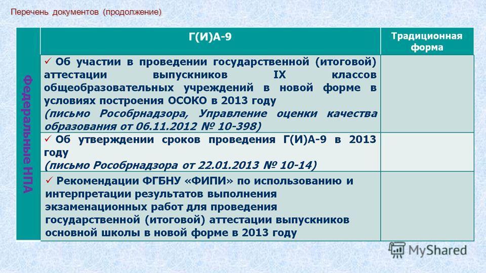 Перечень документов (продолжение)