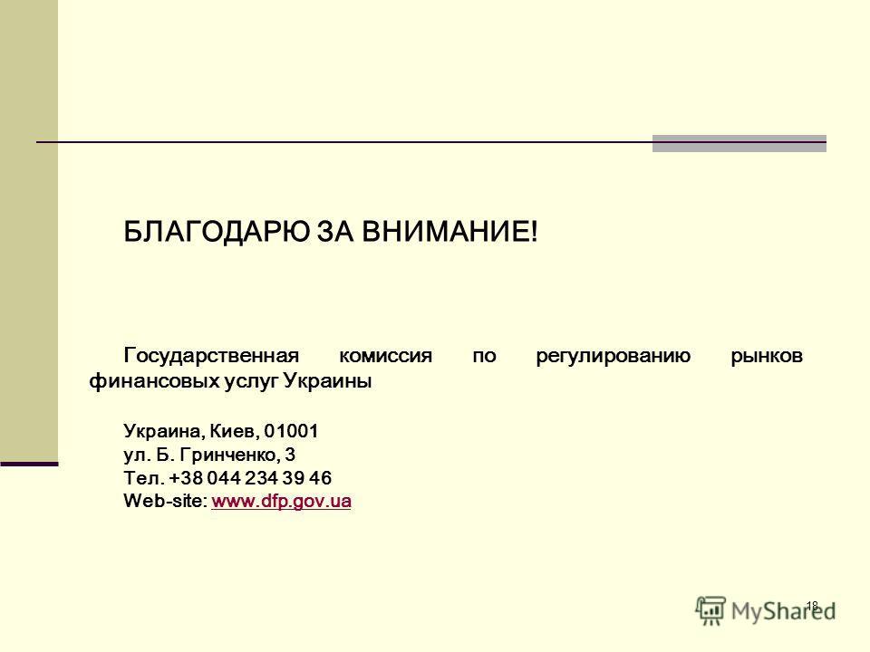 18 БЛАГОДАРЮ ЗА ВНИМАНИЕ! Государственная комиссия по регулированию рынков финансовых услуг Украины Украина, Киев, 01001 ул. Б. Гринченко, 3 Тел. +38 044 234 39 46 Web-site: www.dfp.gov.uawww.dfp.gov.ua