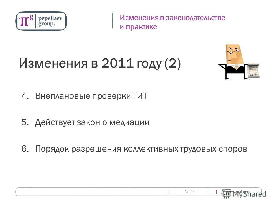 Слайд www.pgplaw.ru 4 Изменения в законодательстве и практике Изменения в 2011 году (2) 4.Внеплановые проверки ГИТ 5.Действует закон о медиации 6. Порядок разрешения коллективных трудовых споров
