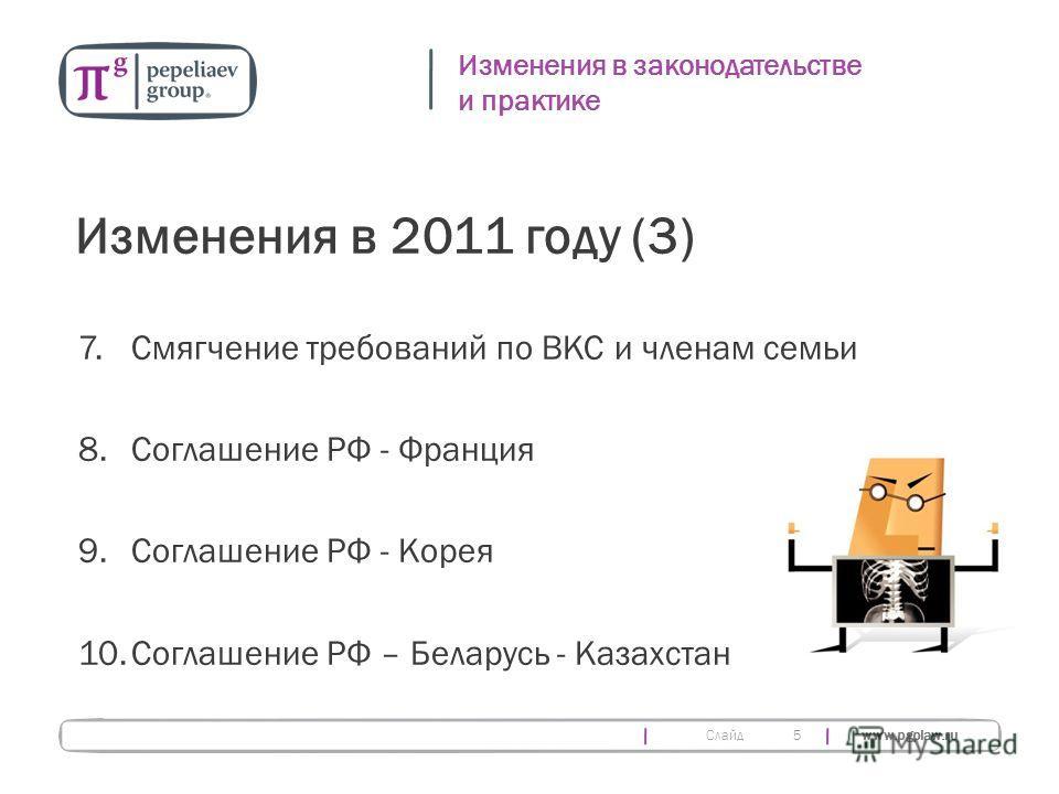 Слайд www.pgplaw.ru 5 Изменения в законодательстве и практике Изменения в 2011 году (3) 7.Смягчение требований по ВКС и членам семьи 8.Соглашение РФ - Франция 9. Соглашение РФ - Корея 10.Соглашение РФ – Беларусь - Казахстан