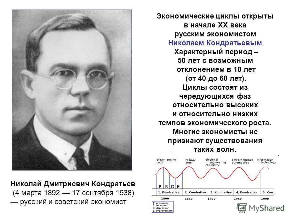 Экономические циклы открыты в начале ХХ века русским экономистом Николаем Кондратьевым. Характерный период – 50 лет с возможным отклонением в 10 лет (от 40 до 60 лет). Циклы состоят из чередующихся фаз относительно высоких и относительно низких темпо