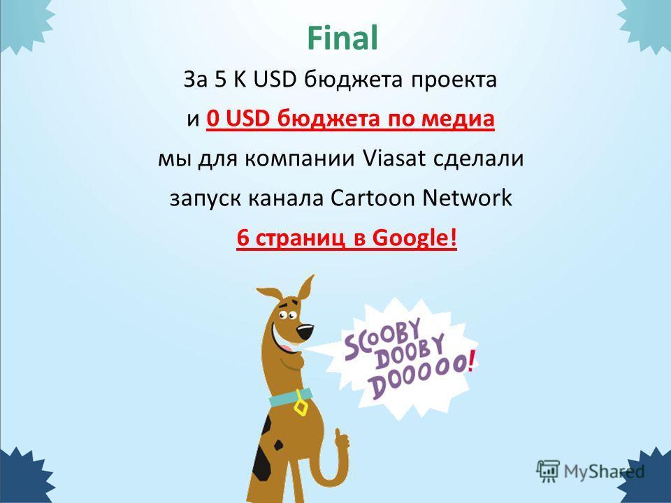 За 5 K USD бюджета проекта и 0 USD бюджета по медиа мы для компании Viasat сделали запуск канала Cartoon Network 6 страниц в Google! Final