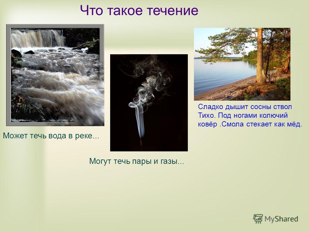 Что такое течение Сладко дышит сосны ствол Тихо. Под ногами колючий ковёр.Смола стекает как мёд. Может течь вода в реке... Могут течь пары и газы...