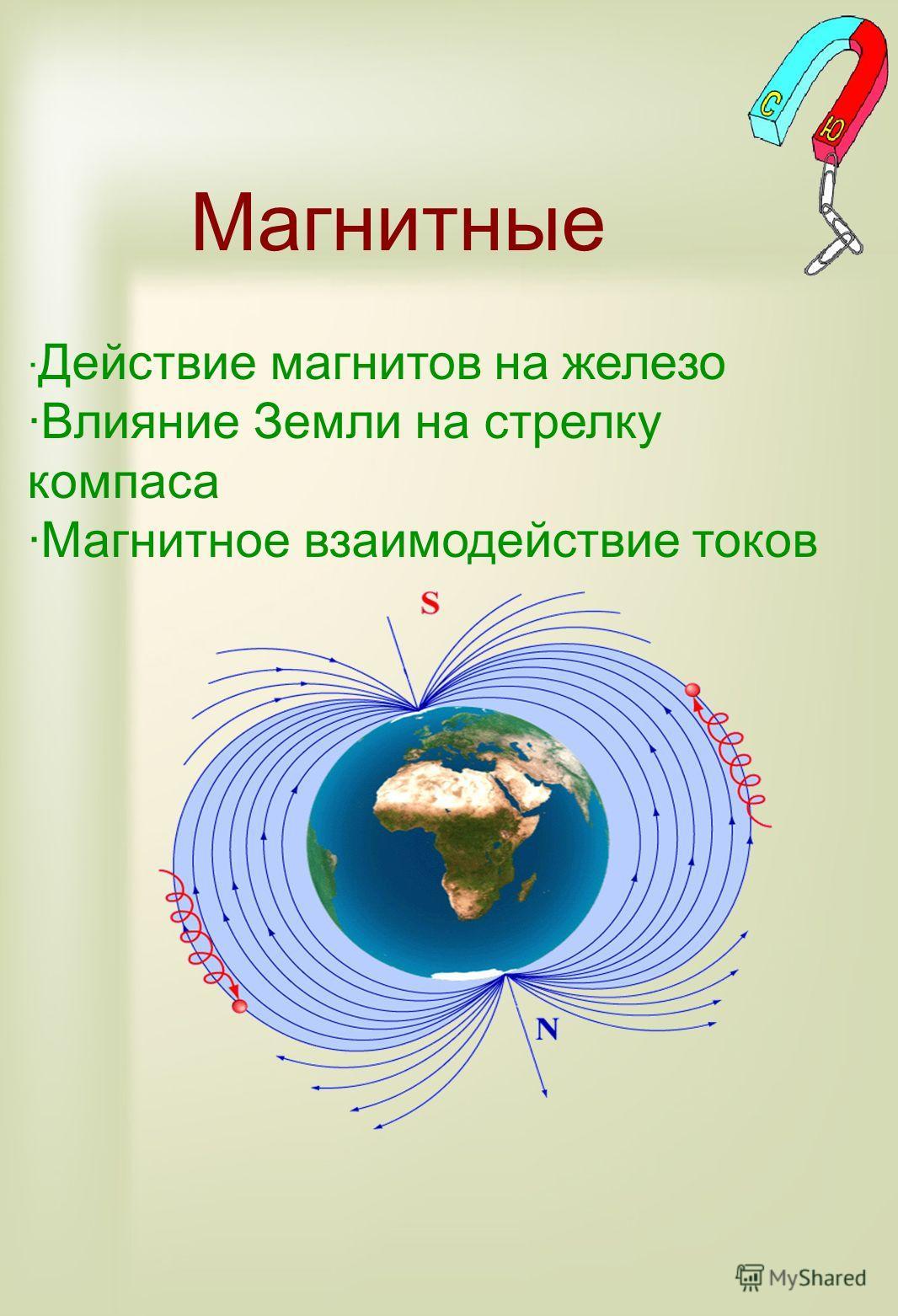 Магнитные · Действие магнитов на железо ·Влияние Земли на стрелку компаса ·Магнитное взаимодействие токов
