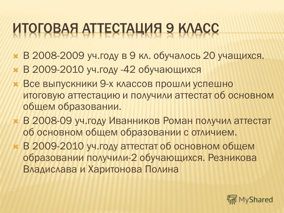 В 2008-2009 уч.году в 9 кл. обучалось 20 учащихся. В 2009-2010 уч.году -42 обучающихся Все выпускники 9-х классов прошли успешно итоговую аттестацию и получили аттестат об основном общем образовании. В 2008-09 уч.году Иванников Роман получил аттестат