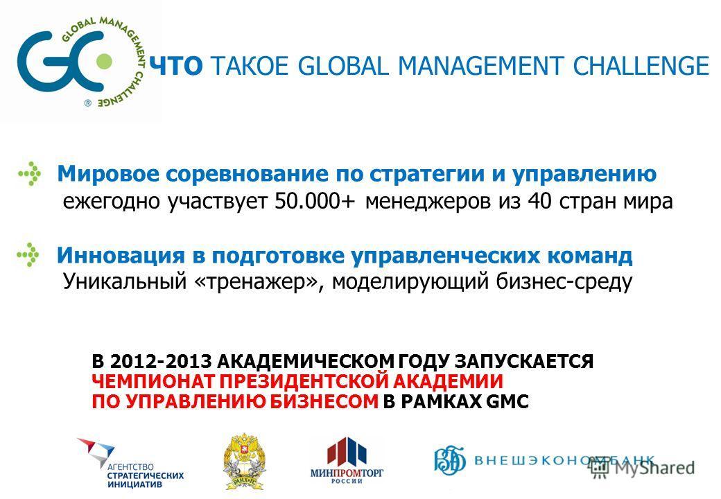 ЧТО ТАКОЕ GLOBAL MANAGEMENT CHALLENGE Мировое соревнование по стратегии и управлению ежегодно участвует 50.000+ менеджеров из 40 стран мира Инновация в подготовке управленческих команд Уникальный «тренажер», моделирующий бизнес-среду В 2012-2013 АКАД