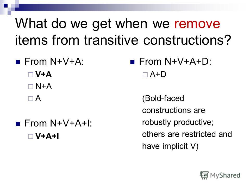 What do we get when we remove items from transitive constructions? From N+V+A: V+A N+A A From N+V+A+I: V+A+I From N+V+A+D: A+D (Bold-faced constructions are robustly productive; others are restricted and have implicit V)