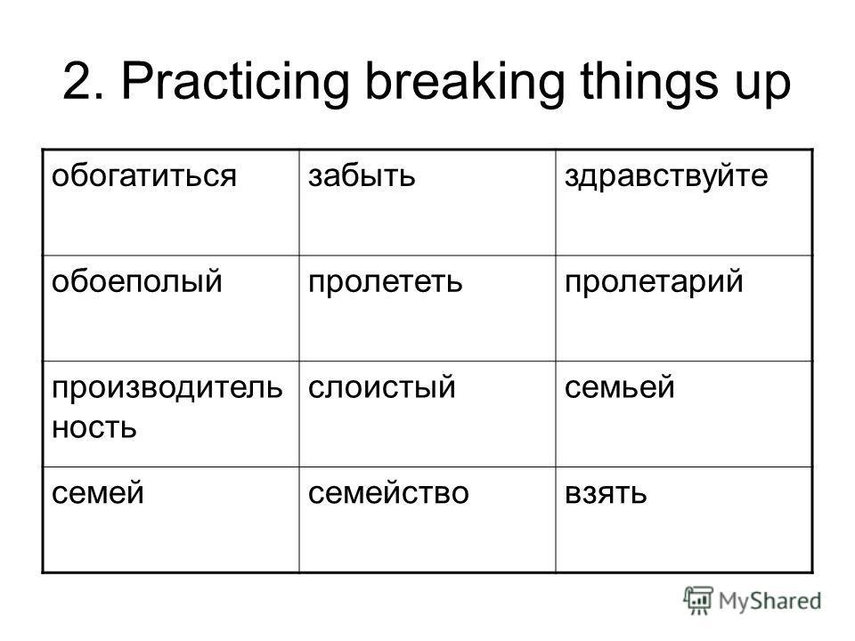 2. Practicing breaking things up обогатитьсязабытьздравствуйте обоеполыйпролететьпролетарий производитель ность слоистыйсемьей семейсемействовзять