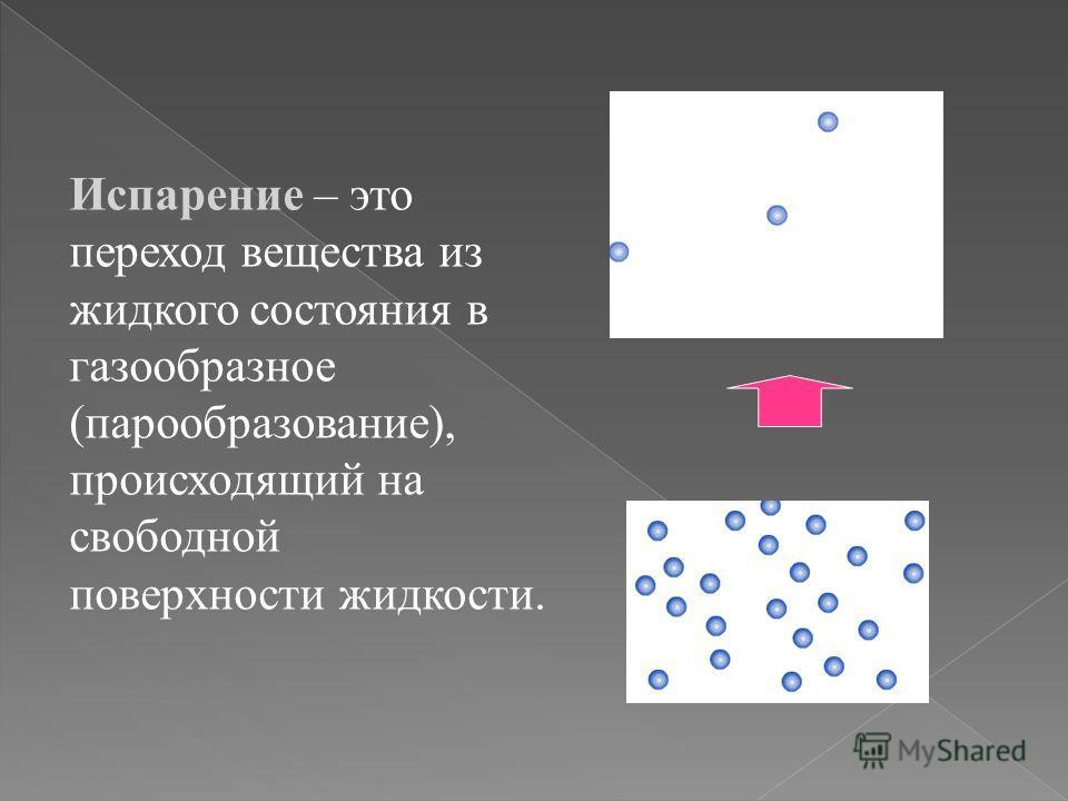 Испарение – это переход вещества из жидкого состояния в газообразное (парообразование), происходящий на свободной поверхности жидкости.