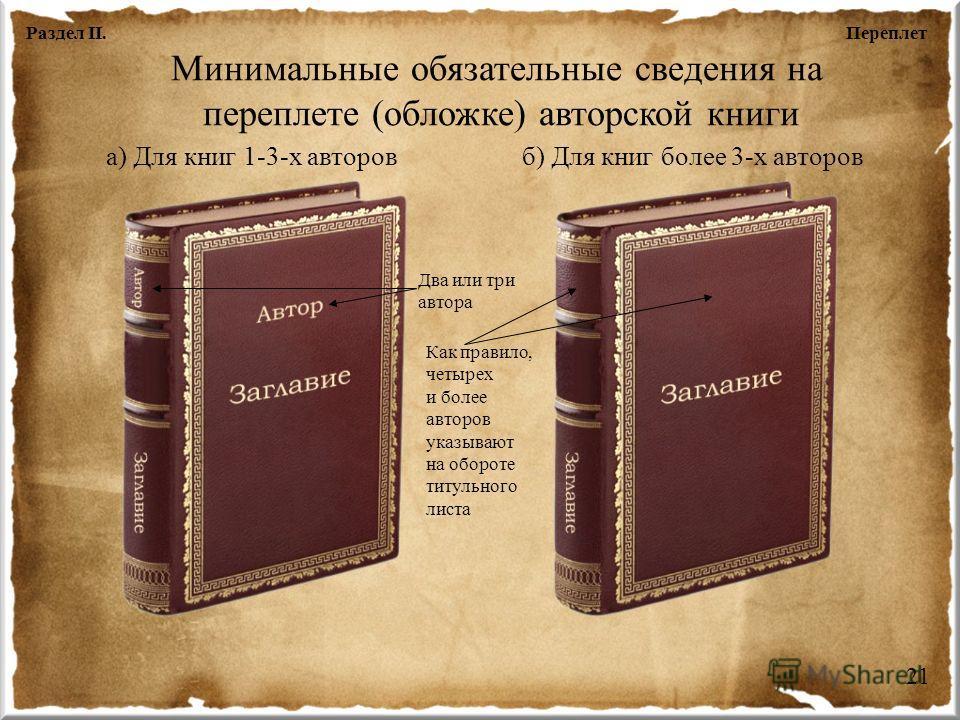 Минимальные обязательные сведения на переплете (обложке) авторской книги а) Для книг 1-3-х авторовб) Для книг более 3-х авторов Два или три автора Как правило, четырех и более авторов указывают на обороте титульного листа ПереплетРаздел II. 21