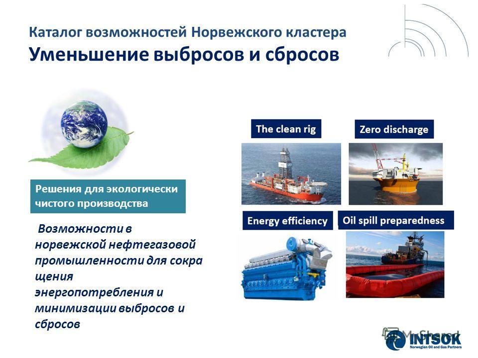 Каталог возможностей Норвежского кластера Уменьшение выбросов и сбросов Возможности в норвежской нефтегазовой промышленности для сокра щения энергопотребления и минимизации выбросов и сбросов Решения для экологически чистого производства