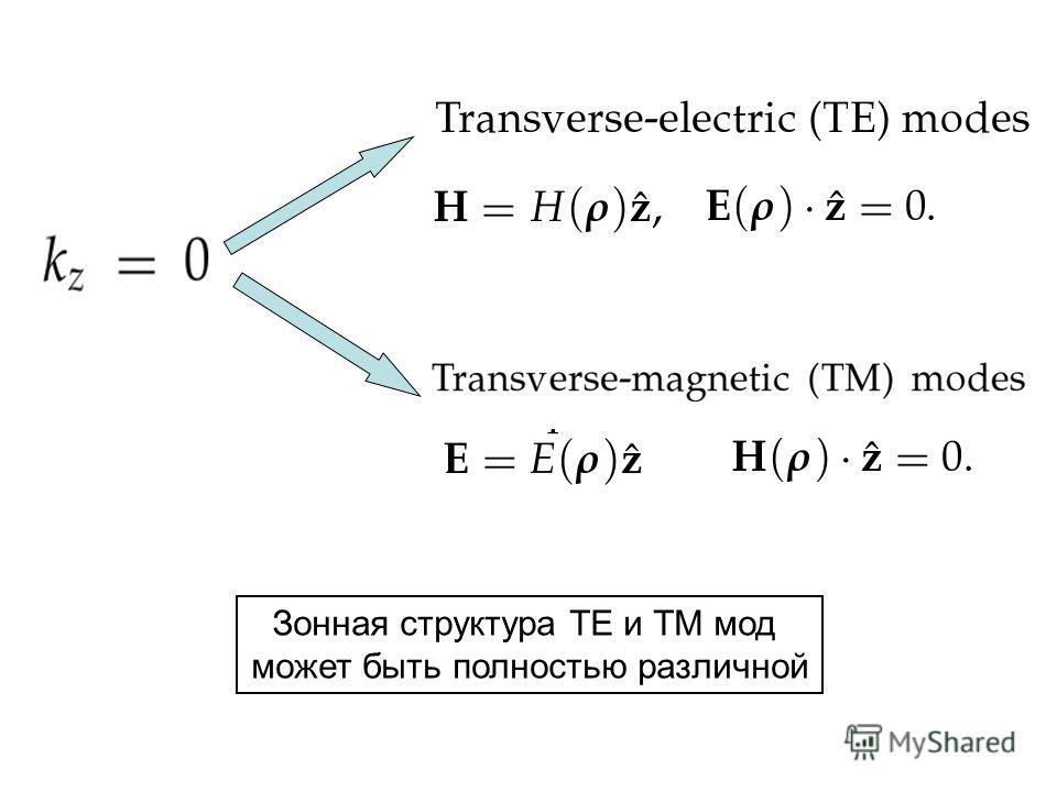 Зонная структура TE и ТМ мод может быть полностью различной