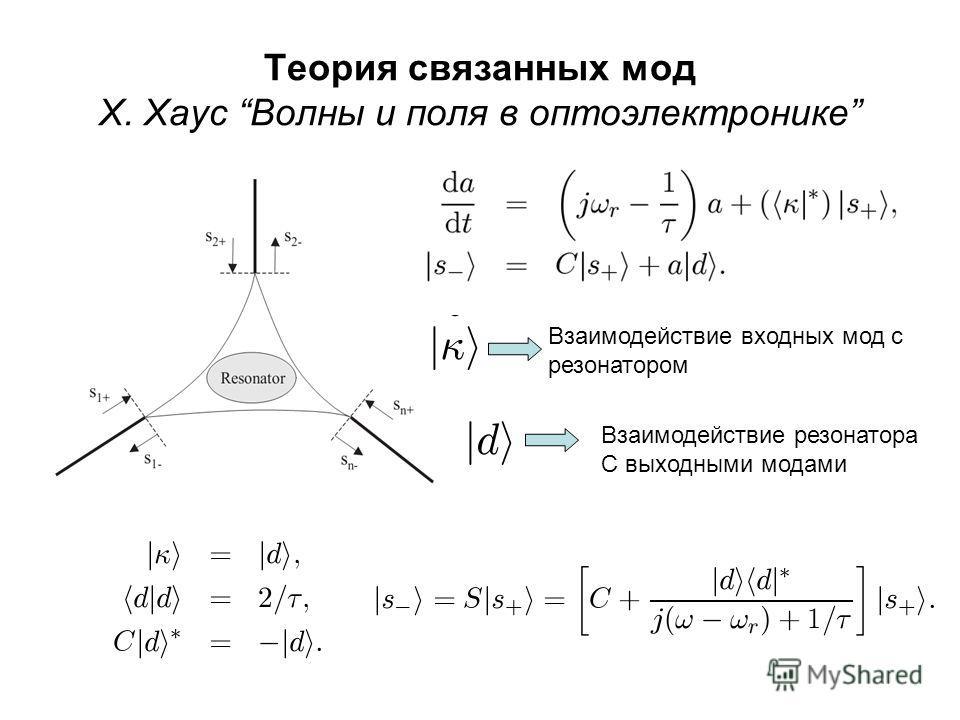 Теория связанных мод Х. Хаус Волны и поля в оптоэлектронике Взаимодействие входных мод с резонатором Взаимодействие резонатора С выходными модами