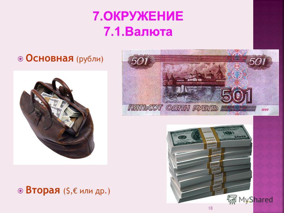 18 Основная (рубли) Вторая ($, или др.) 7.ОКРУЖЕНИЕ 7.1.Валюта