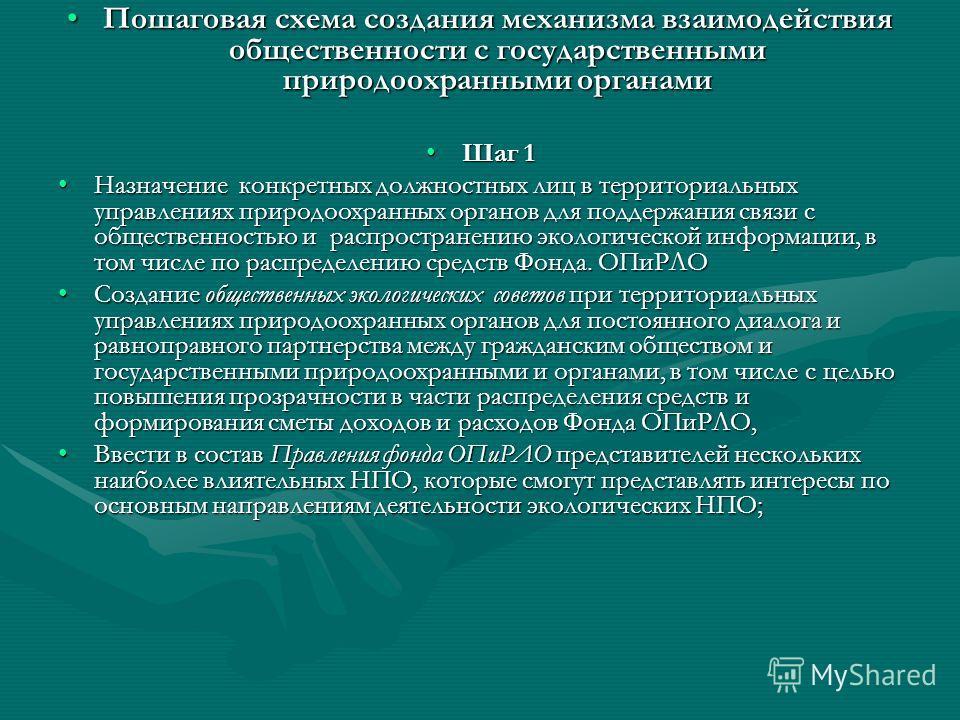 Пошаговая схема создания механизма взаимодействия общественности с государственными природоохранными органамиПошаговая схема создания механизма взаимодействия общественности с государственными природоохранными органами Шаг 1Шаг 1 Назначение конкретны