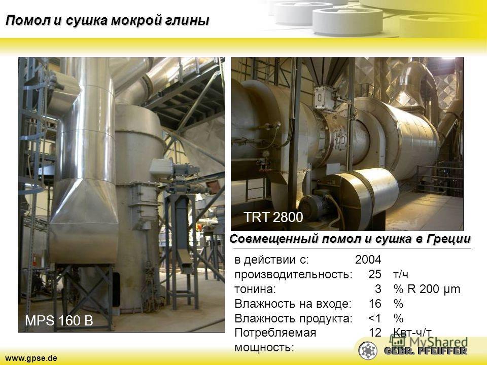 www.gpse.de Помол и сушка мокрой глины MPS 160 B TRT 2800 Совмещенный помол и сушка в Греции в действии с: производительность: тонина: Влажность на входе: Влажность продукта: Потребляемая мощность: 2004 25 3 16