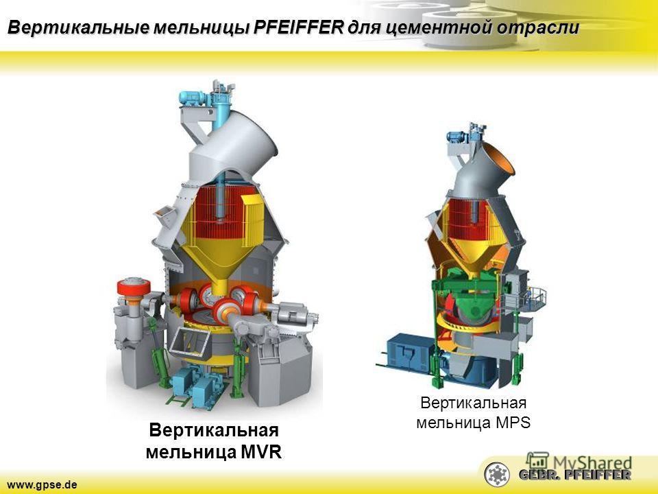www.gpse.de Вертикальные мельницы PFEIFFER для цементной отрасли Вертикальная мельница MVR Вертикальная мельница MPS