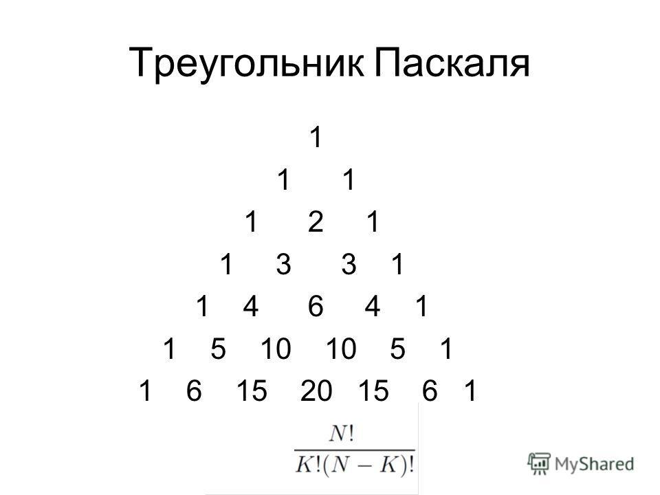 Треугольник Паскаля 1 1 1 1 2 1 1 3 3 1 1 4 6 4 1 1 5 10 10 5 1 1 6 15 20 15 6 1