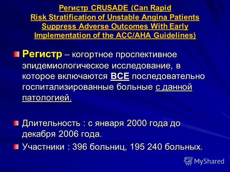 Регистр CRUSADE (Can Rapid Risk Stratification of Unstable Angina Patients Suppress Adverse Outcomes With Early Implementation of the ACC/AHA Guidelines) Регистр – когортное проспективное эпидемиологическое исследование, в которое включаются ВСЕ посл