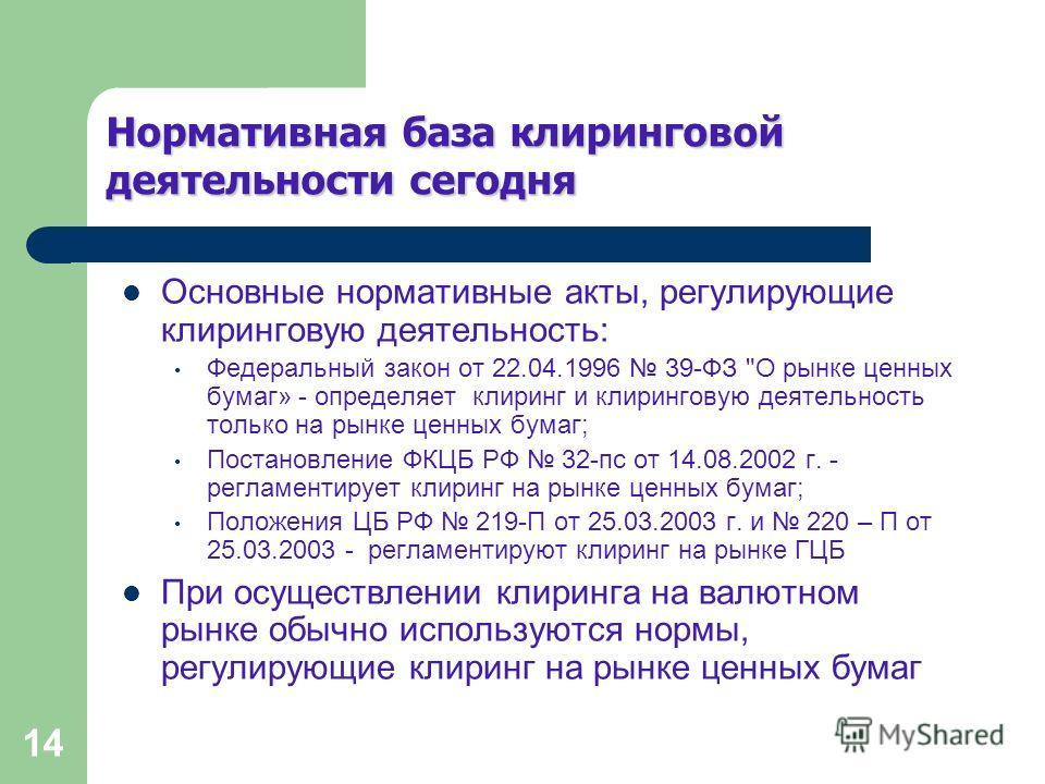 14 Нормативная база клиринговой деятельностисегодня Нормативная база клиринговой деятельности сегодня Основные нормативные акты, регулирующие клиринговую деятельность: Федеральный закон от 22.04.1996 39-ФЗ