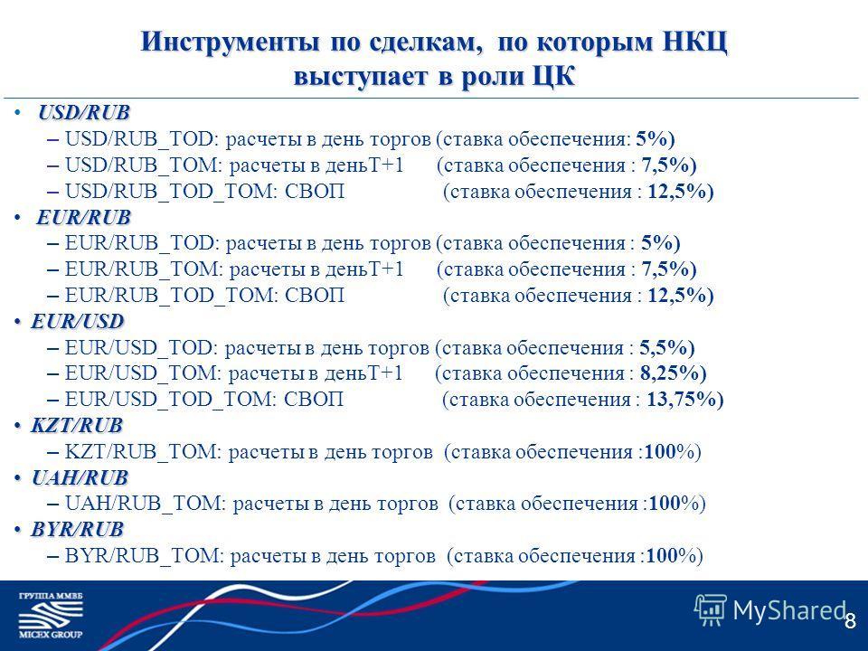 8 Инструменты по сделкам, по которым НКЦ выступает в роли ЦК USD/RUB – USD/RUB_TOD: расчеты в день торгов (ставка обеспечения: 5%) – USD/RUB_TOM: расчеты в деньT+1 (ставка обеспечения : 7,5%) – USD/RUB_TOD_TOM: СВОП (ставка обеспечения : 12,5%) EUR/R