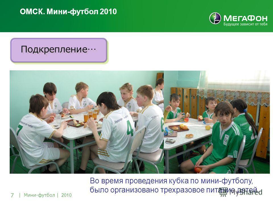 7 | Мини-футбол | 2010 Во время проведения кубка по мини-футболу, было организовано трехразовое питание детей. ОМСК. Мини-футбол 2010 Подкрепление…