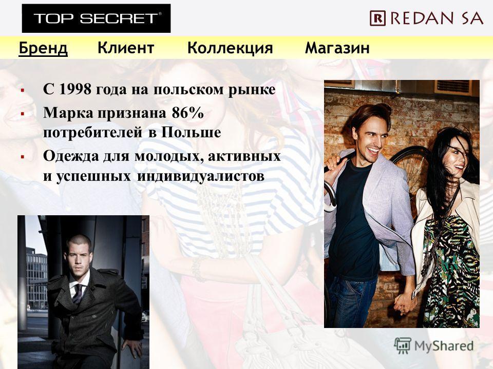 С 1998 года на польском рынке Марка признана 86% потребителей в Польше Одежда для молодых, активных и успешных индивидуалистов Бренд Клиент КоллекцияМагазин