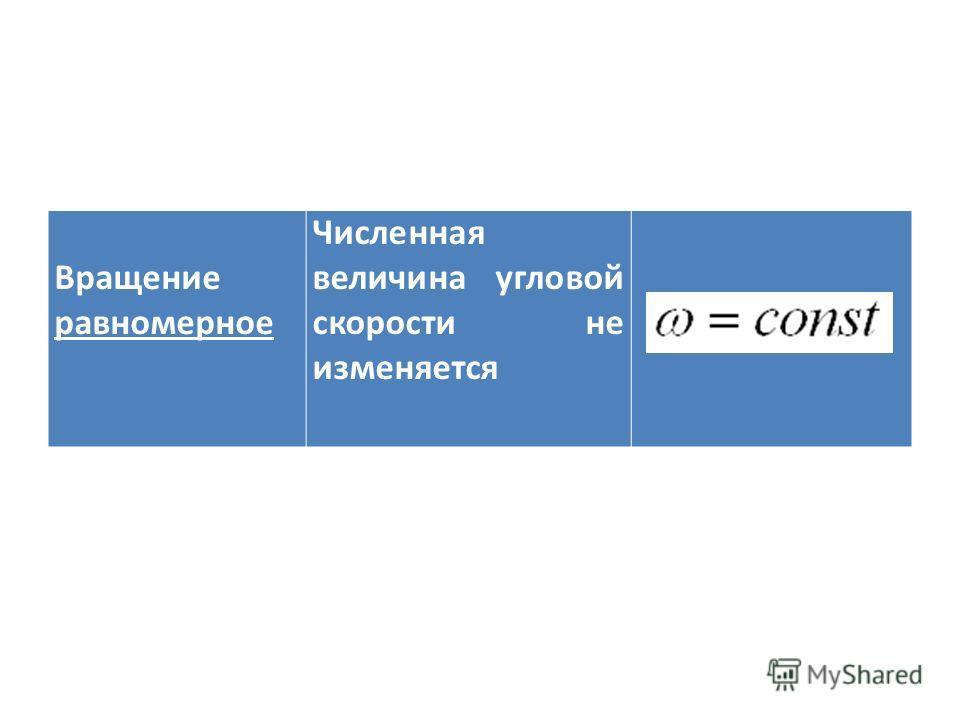 Вращение равномерное Численная величина угловой скорости не изменяется