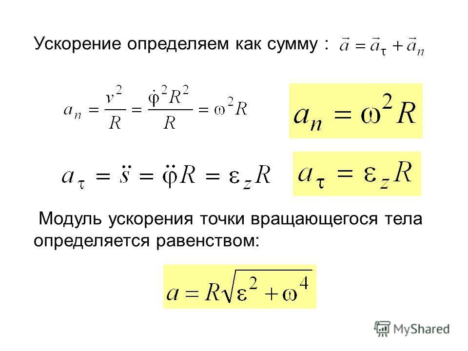 Ускорение определяем как сумму : Модуль ускорения точки вращающегося тела определяется равенством: