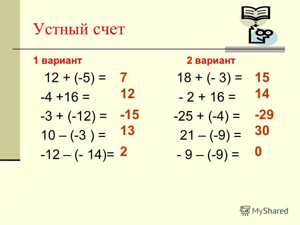 1 вариант 2 вариант 12 + (-5) = 18 + (- 3) = -4 +16 = - 2 + 16 = -3 + (-12) = -25 + (-4) = 10 – (-3 ) = 21 – (-9) = -12 – (- 14)= - 9 – (-9) = Устный счет 7 12 -15 13 2 15 14 -29 30 0