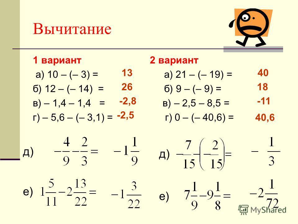 Вычитание 1 вариант 2 вариант а) 10 – (– 3) = а) 21 – (– 19) = б) 12 – (– 14) = б) 9 – (– 9) = в) – 1,4 – 1,4 = в) – 2,5 – 8,5 = г) – 5,6 – (– 3,1) = г) 0 – (– 40,6) = д) е) д) е) 13 26 -2,8 -2,5 40 18 -11 40,6
