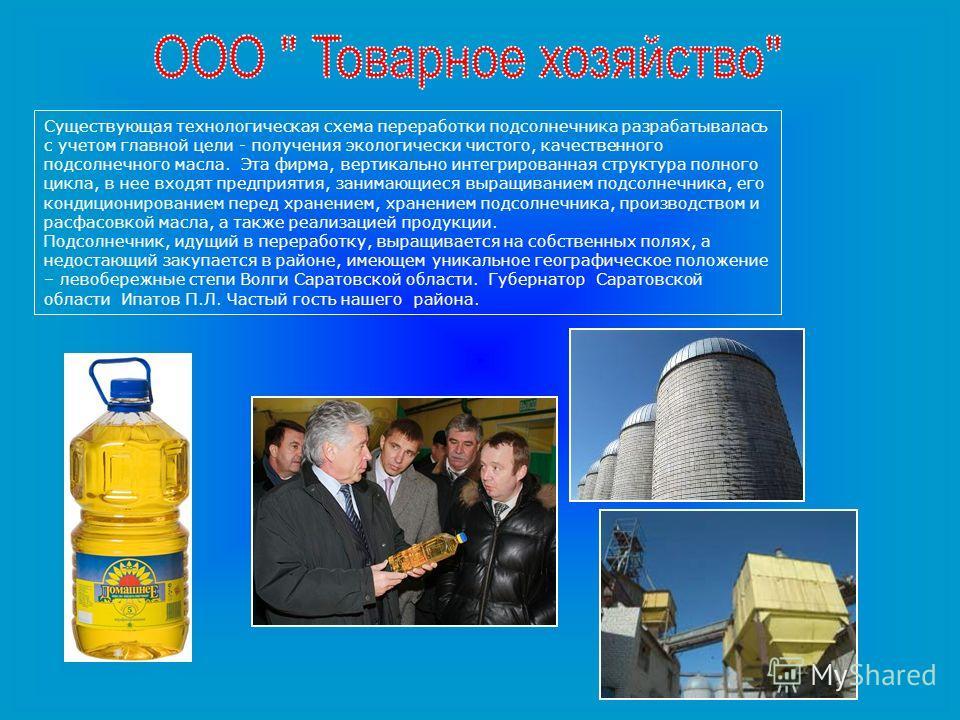 Существующая технологическая схема переработки подсолнечника разрабатывалась с учетом главной цели - получения экологически чистого, качественного подсолнечного масла. Эта фирма, вертикально интегрированная структура полного цикла, в нее входят предп