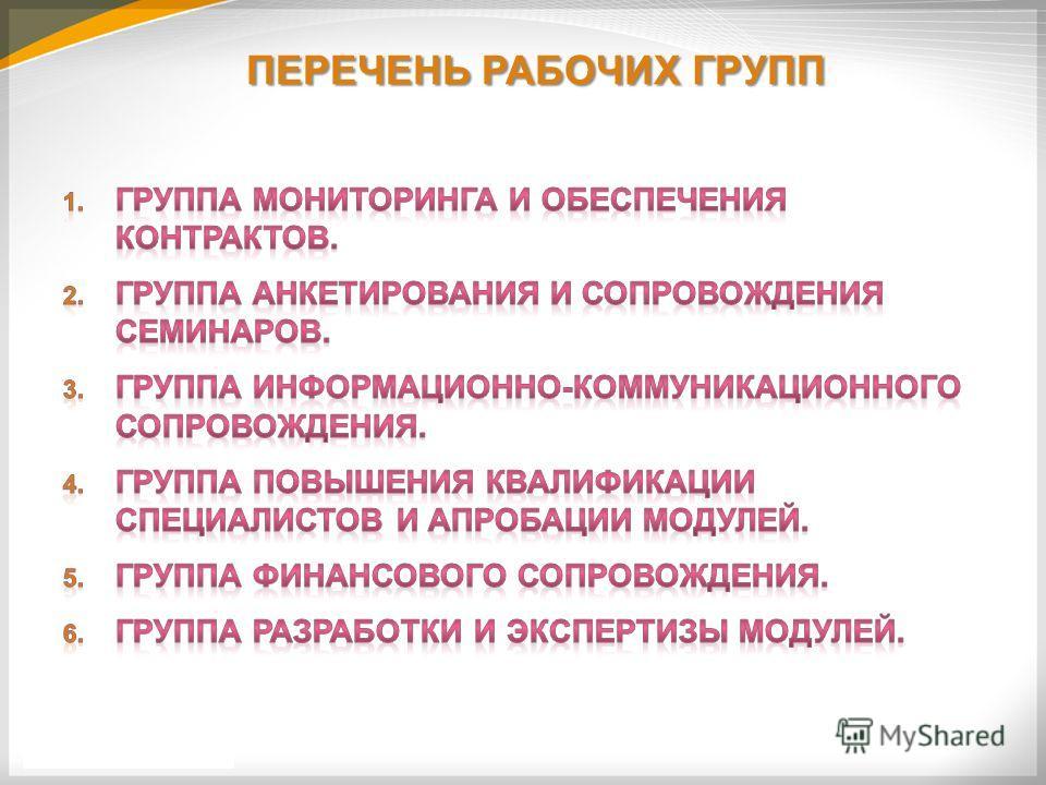 ПЕРЕЧЕНЬ РАБОЧИХ ГРУПП