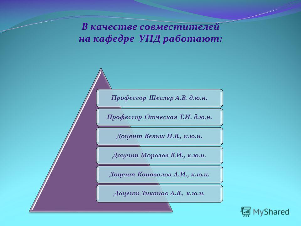 В качестве совместителей на кафедре УПД работают: Профессор Шеслер А.В. д.ю.н.Профессор Отческая Т.И. д.ю.н.Доцент Вельш И.В., к.ю.н.Доцент Морозов В.И., к.ю.н.Доцент Коновалов А.И., к.ю.н.Доцент Тиканов А.В., к.ю.н.