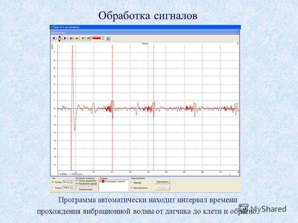 Программа автоматически находит интервал времени прохождения вибрационной волны от датчика до клети и обратно. Обработка сигналов