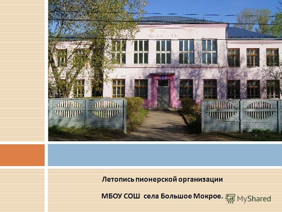 Летопись пионерской организации МБОУ СОШ села Большое Мокрое.