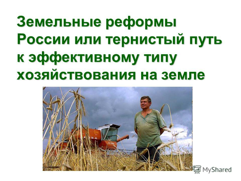 Земельные реформы России или тернистый путь к эффективному типу хозяйствования на земле