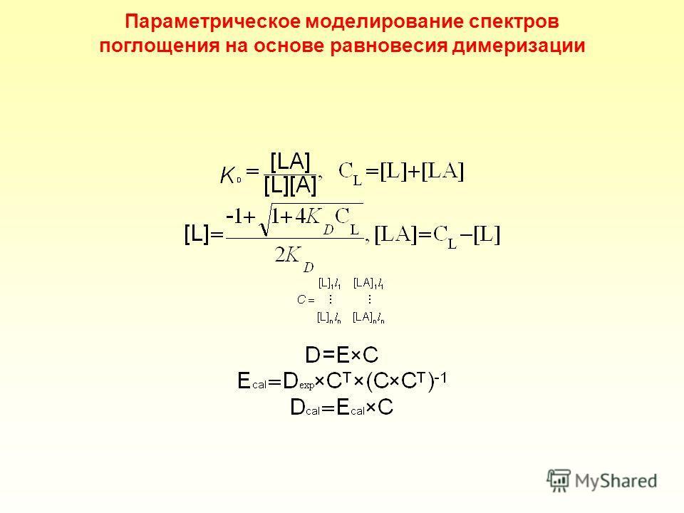 Параметрическое моделирование спектров поглощения на основе равновесия димеризации