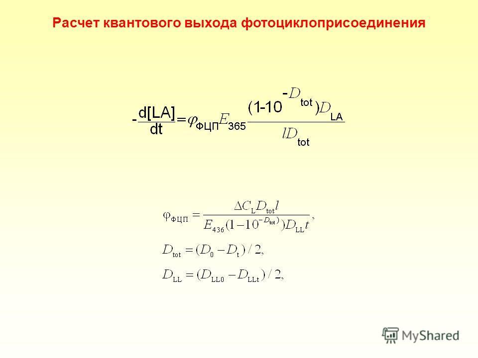 Расчет квантового выхода фотоциклоприсоединения