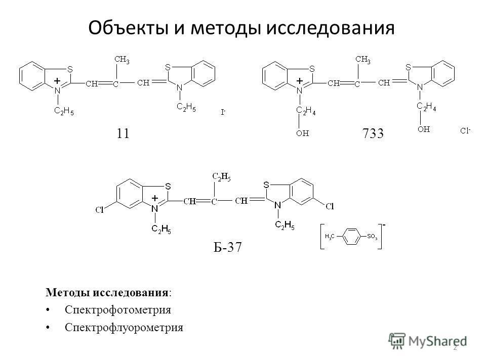 Объекты и методы исследования 11733 Б-37 Методы исследования: Спектрофотометрия Спектрофлуорометрия 2