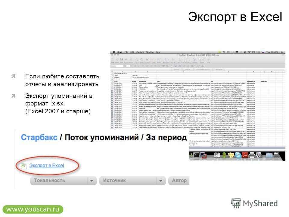 Экспорт в Excel Если любите составлять отчеты и анализировать Экспорт упоминаний в формат.xlsx (Excel 2007 и старше)